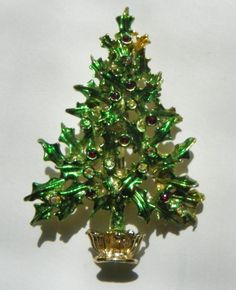 """signed """"TANCER II""""  Green Christmas Tree Brooch ~ Vintage Costume Jewelry…"""