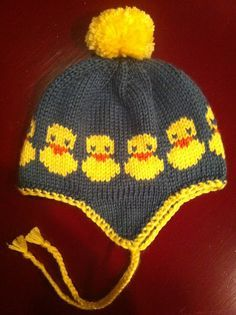 Ravelry: Project Gallery for Rubber duck chart pattern by Sandra Jäger stricken, Baby Hats Knitting, Fair Isle Knitting, Knitting Charts, Knitting For Kids, Knitting Stitches, Free Knitting, Knitting Projects, Knitted Hats, Baby Hat Patterns