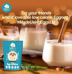 A very quick recipe of holiday cocktail favorite #Eggnog with low-cal using #EggsUp  Buy EggsUp here : bit.ly/2opMtpe