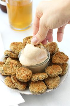 """""""Fried"""" Pickles with Garlic-Paprika Aioli #vegan   On the DF"""