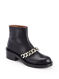 Givenchy Leather Chain-Detail Ankle Boots