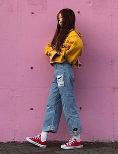 Korean Fashion - Distressed Jeans And Sweaters outfits style summer teenage frauen sommer for teens outfits Korean Fashion Summer, Korean Fashion Trends, Korean Street Fashion, Korea Fashion, 90s Fashion, Fashion Looks, Fashion Outfits, Style Fashion, Fashion Stores