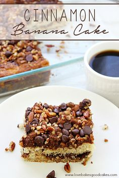 Put those ripe bananas to good use with this Cinnamon Banana Cake! The cinnamon, chocolate and pecans pair perfectly with the banana! Great for breakfast or dessert!