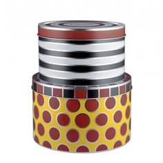 Alessi Multicolor Circus Set of 2 Storage Boxes by Marcel Wanders Food Storage Containers, Storage Boxes, Pots, Cookware Accessories, Kitchen Shop, Kitchen Dining, Factory Design, Alessi, Tin Boxes