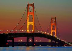 Mackinaw Bridge at night. So beautiful.