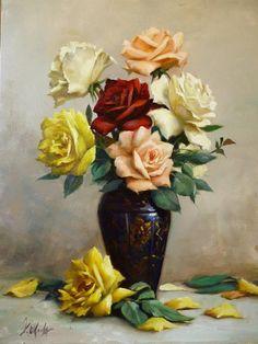 DOUGLAS OKADA - Arranjo com rosas - Óleo sobre tela - 50 x 40 - 2012