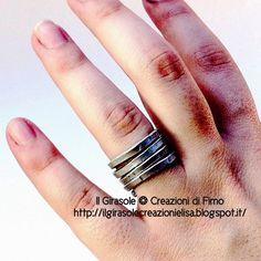 Il Girasole ❂  Creazioni di Fimo: Anello a fascia in wire di alluminio battuto