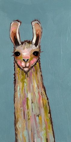 lovely llama on blue