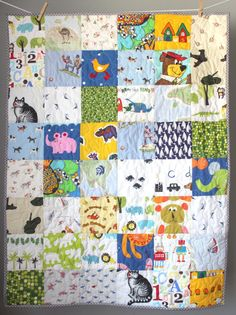 This quilt is completed and ready to ship to you! This quilt is truly a one of a kind and is made using a mix of bright, fun vintage sheet fabrics