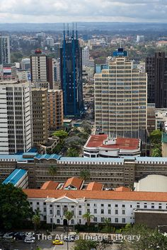 City view from the Kenyatta International Conference Centre with the Nairobi City Council in front, Nairobi, Kenya
