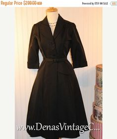50% OFF CLEARANCE SALE Vintage 50s Couture Little Black Dress Fitted Waist Full Skirt sz M