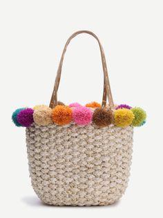 Beige Pom Pom Trim Straw Tote Bag