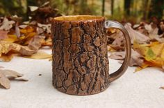 Tree Bark Mug with honey yellow interior by elainequave on Etsy, $20.00