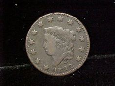 1822 Coronet Head Large Sized One Cent Coin Fine Condition Original   eBay