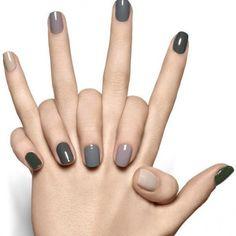 Nail art con diverse tonalit� di grigio