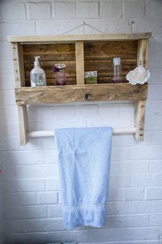 Rustic Wooden Towel Rail with Shelf made from reclaimed pallet wood in Home, Furniture & DIY, Storage Solutions, Other Storage Solutions | eBay