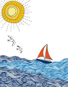 Sailboat print by sloeginfizz on Etsy
