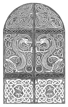 Dragons door by mossy-tree on DeviantArt -Dragons door by mossy-tree Celtic -Traditional Art / Drawings Viking Designs, Celtic Designs, Celtic Symbols, Celtic Art, Celtic Knots, Celtic Images, Art Ancien, Celtic Culture, Celtic Patterns