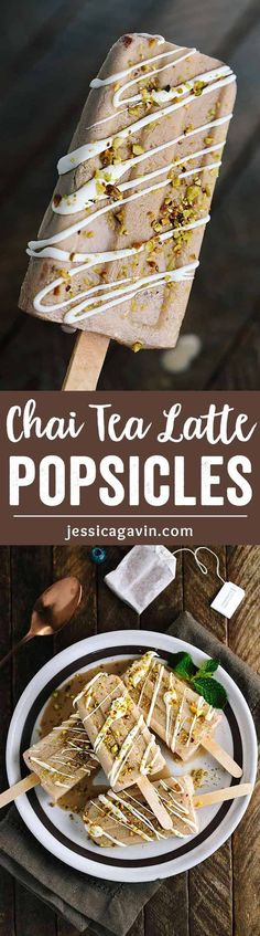 Spiced Chai Tea Latte Popsicles - The perfect cool treat bursting with bold flavors and just a hint of sweetness for a healthy indulgence. via /foodiegavin/