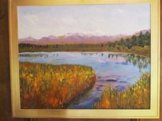 View of Grand Tetons, Oil on canvas