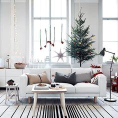 The most wonderful time of the year. Decor, Interior, Christmas Living Rooms, Ikea, Minimalist Christmas Decor, Grey Sofa Living Room, Interior Design Furniture, Norsborg, Ikea Norsborg Sofa