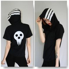 Soul Eater Death the Kid Hooded Tee ($39) ❤ liked on Polyvore featuring cosplay, shirts, t-shirts, grey, tops en women's clothing