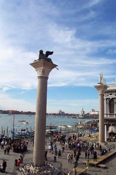 Doges' Palace - Venice, Italy - Chimera Statue & St. Theodore Statue