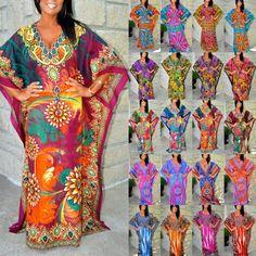 Taj Mahal Dubai Printed Boho Maxi Kaftan Dress - Animal Paisley Bali Prints S-3X…
