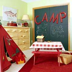 Chalkboard magnet closet doors with oak trim. Oak trim, red accents