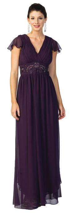 Plum Mother of the Bride/Groom Gown Cap Sleeves Empire Waist Dress