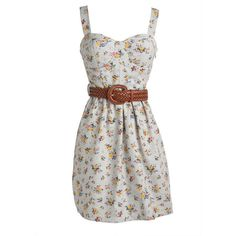 Denim Floral Belted Dress ($40) ❤ liked on Polyvore