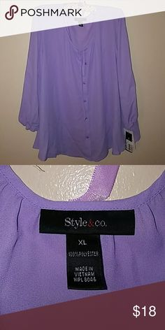 NWT Style & Co Button down blouse Beautiful lilac colored button down blouse. Never worn tags still on item. Style & Co Tops Button Down Shirts