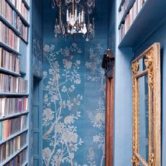 blue de gournay wallpaper and gilt mirrors / wall coverings