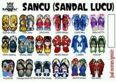Sandal lucu dan unik dengan model karakter kartun.