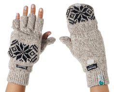 Fingerless Texting Gloves with Removable Mitten Top White