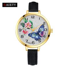 2017 New Arrive GAIETY Gold Butterfly Flowers Women Bracelet Watch Leather Quartz WristWatches Women Fashion Dress Watches G351