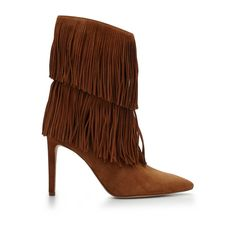 Fringe frenzy isn't going anywhere anytime soon. Channel you're inner 70's superstar with this suede pointed toe above-ankle boot. Double layers of suede fringe amp up a sleek, skinny denim look, or complete an allover boho-inspired ensemble.Material: LeatherHeel height: 3.25 in