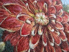 .beautiful dahlia embroidered in wool
