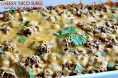 Cheesy Taco Bake has a Bisquick and cilantro crust, a beef, corn and salsa layer then topped with cheddar cheese. Easy and delicious. Homemade Taco Seasoning, Homemade Tacos, Slow Cooker Recipes, Cooking Recipes, Crockpot Recipes, Baked Tacos Recipe, Easy Casserole Recipes, Taco Casserole, B Recipe