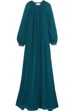 Shop Roksanda Savernake Crinkled-silk Maxi Dress from stores. Frock Fashion, Abaya Fashion, Fashion Dresses, Velvet Dress Designs, Moslem Fashion, Muslim Women Fashion, Sleeves Designs For Dresses, Hijab Fashion Inspiration, Islamic Clothing