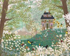 Garden Dream no. 1 by Joy Laforme Garden Illustration, Garden Drawing, Stationery Companies, Niedliche Illustration, Jolies Images, Naive Art, Peony, Hudson Valley, Folk Art