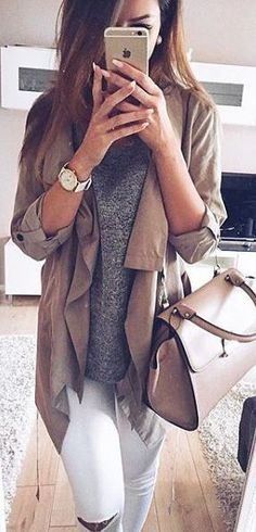 #fall #fashion / gray knit + coat