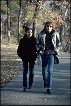 Yoko Ono & John Lennon taking a walk in Central Park