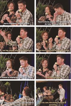 [gifset] What are you going to dress your kids up as for Halloween? This is great! Jensen's impression of Thomas always makes me smile <3 #Jensen #Jared #Torcon