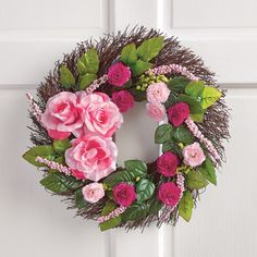 Pink Rose Twig Wreath