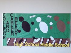 College and Career Ready bulletin board that represents a race to the finish, which is being college and career ready after high school as HSD2 espouses.