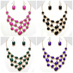 UnikLook Jewelry - Dalida dangling colors gold frame Necklace Earring set, $12.00 (http://www.uniklook.com/dalida-dangling-colors-gold-frame-necklace-earring-set/)