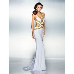 TS Couture® Formal Evening Dress - Beautiful Back Plus Size / Petite Trumpet / Mermaid V-neck Sweep / Brush Train Jersey with Beading / Crystal – USD $ 89.99