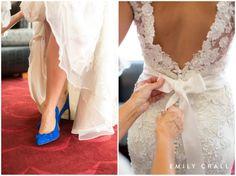 Hotel Kirkwood fall wedding, wedding gown with bow, blue wedding shoes, something blue