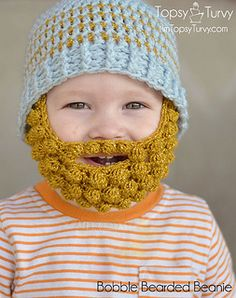 Bobble bearded beanie - free crochet pattern by Ashlee Prisbrey. Baby/child/adult. Beard in 4 sizes, hat in 7 sizes. http://ashleemarie.com/crochet-bobble-beard-pattern-multiple-sizes/
